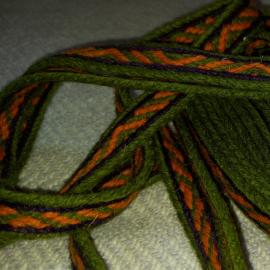 Vytinė apvadinė juostelė,žalia-oranžinė, 1 m