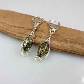 Gintariniai auskarai, Žalio gintaro sidabriniai auskarai