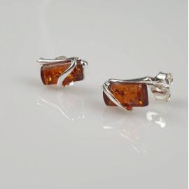Gintariniai auskarai, minimalistiniai rudi sidabriniai vynukai