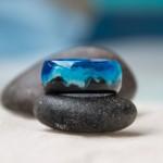 """Juodmedžio žiedas """"Jūros krantas"""" žalsvai mėlynas"""