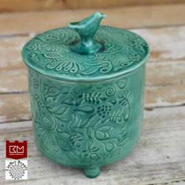 Keramikos dėžutė su paukšteliu vandens žalia